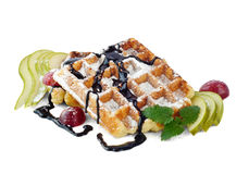 Belgian waffles with pear Royalty Free Stock Photo
