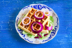 Belgian waffles on a plate Stock Images