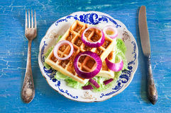 Belgian waffles on a plate Stock Photography