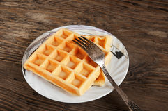 Belgian waffles on a plate Stock Image
