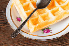 Belgian waffles on a plate Stock Photo