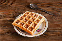 Belgian waffles on a plate Royalty Free Stock Photos
