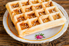 Belgian waffles on a plate Royalty Free Stock Photography