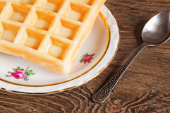 Belgian waffles on a plate Royalty Free Stock Photo