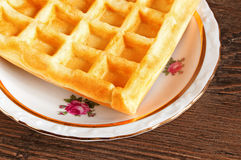 Belgian waffles on a plate Royalty Free Stock Images