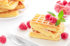 Belgian waffles. Portion of fresh stacked Belgian waffles with raspberries Stock Images