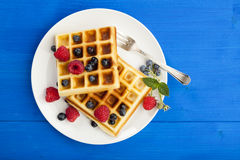 Belgian waffles with raspberries and blueberries Stock Images