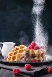 Belgian waffles with raspberries Royalty Free Stock Photos