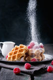 Belgian waffles with raspberries Royalty Free Stock Photography