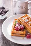 Belgian waffles with raspberry, honey and sprinkled with powdere. Belgian waffles with raspberry and honey Stock Photos