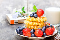 Belgian  waffles  with ricotta and berries on wooden table Royalty Free Stock Photos