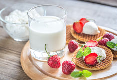 Belgian waffles with ricotta and strawberries Stock Photography