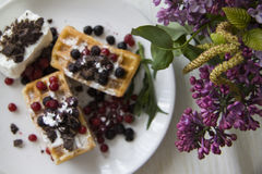Belgian waffles series 05 Stock Photo