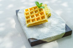 Belgian waffles served in restaurant Royalty Free Stock Image