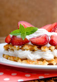 Belgian waffles with strawberries and cream Stock Images