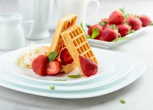 Belgian waffles with strawberries, cream and fresh mint stock photography