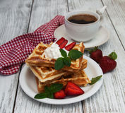 Belgian waffles with strawberries and mint Stock Photography