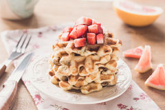 Belgian waffles and strawberries Royalty Free Stock Photography