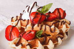 Belgian waffles with strawberries, whipped cream and chocolate m Royalty Free Stock Photos