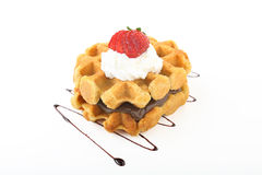Belgian waffles strawberry and cream Stock Images