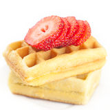 Belgian waffles and strawberry Stock Photos