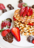 Belgian waffles with strawbery Stock Photo