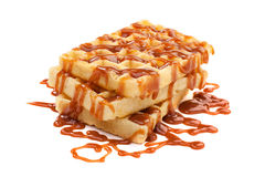 Belgian waffles. Belgian waffels under the caramel topping Royalty Free Stock Image