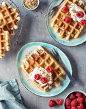 Belgian waffles with whipped cream and berries. Two plates of belgian waffles with whipped cream and raspberries on gray marble background. Top view Stock Photos