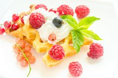 Belgian waffles with whipped cream and fresh berries Stock Images