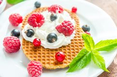 Belgian waffles with whipped cream and fresh berries Royalty Free Stock Image