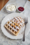 Belgian waffles with whipped cream Stock Images