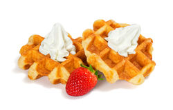 Belgian Waffles with Whipped Cream and Strawberry Royalty Free Stock Images