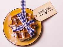 Belgian waffles For You written on the tag . Relationship, lov royalty free stock photography