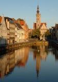 Belgien bruges kanal Royaltyfria Bilder