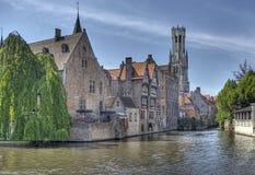 Belgien bruges kanal royaltyfri bild
