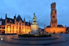 Belgien Bruges, klockatorn Royaltyfri Foto