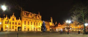 Belgien brugge nattsikt Royaltyfri Bild