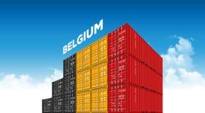 Belgien för sändningslastbehållare flagga för logistik och trans. med moln vektor illustrationer