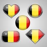 Belgien-Flaggenikonen Stockfotografie
