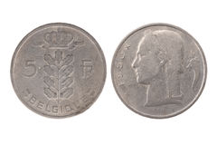 Belgien 1950 5 franc mynt Royaltyfria Bilder