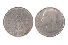 Belgien 1950 5 Franken Münze Lizenzfreie Stockbilder