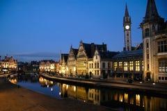 Belgien ghent graslei Arkivbild