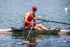 Belgien idrottsman nen på en rodd för konkurrens för världsroddkopp royaltyfria bilder