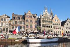 Belgien kanal ghent Arkivfoto