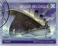 BELGIEN - 2012: kolossala shower, kolossal hundraårsdag 1912-2012 Royaltyfria Foton