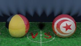 Belgien kontra Tunisien FIFA världscup 2018 Bild för original 3D vektor illustrationer