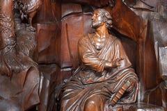 BELGIEN, LÖWEN - 5. SEPTEMBER 2014: Hölzerne Skulpturen Stockfotografie