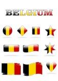 Belgien-Markierungsfahnenikone Stockfotos