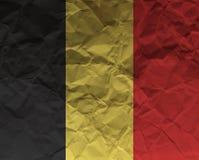 Belgien skrynklade den papper texturerade flaggan arkivfoto
