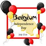 Belgien-Unabhängigkeitstag, am 21. Juli Grußkartenschablone Lizenzfreies Stockfoto